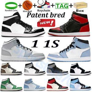 With box patent bred 1 1s trend basketball shoes university blue high dark mocha mid light smoke grey si er toe shadow men wome lesliecheung