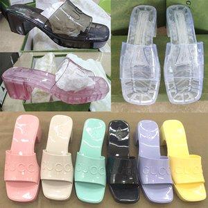 """2021 женские сандалии Высокие каблуки резиновые скольжения сандалии платформы тапочки капюшки 2,4 """"высота каблуки туфли летние тиснение шлепанки с коробкой 267"""