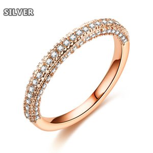 18K goes gold silver ring suitable for party Simple and gorgeous half circle set with diamonds engagement jewellery famous brand