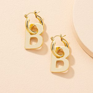 Net red new style exaggerated atmosphere B letter fashion personality geometric Circle Earrings female