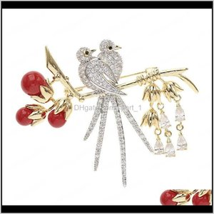 Red Pearls Crystal Love Bird Brooches Women Fashion Wedding Cor Gold Plated Full Diamond Brooch Pins Designer Suit Bouttonere 1Fydg Dsd1Q