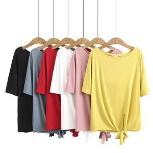 F5 большие женские новые весенние и лето 2021 жир мм тонкий свободный лук подол с коротким рукавом футболку Top 2061