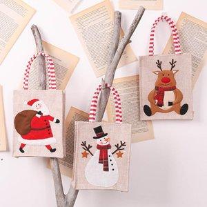Christmas Ornament Linen Embroidered Handbag Cartoon Old Man Gift Bag Children Candy Bags CCB9285