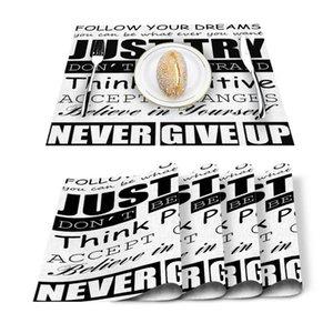 Table Runner 4 6pcs Positive Energy Text White Kitchen Placemat Set Dining Mats Cotton Linen Pad Bowl Cup Mat Home Decor