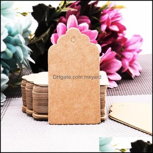 Greeting Event Festive Supplies Home & Gardengreeting Cards 100Pcs Lot Diy Kraft Paper Tags Scalloped Rec Christmas Wedding Favour Party Gif