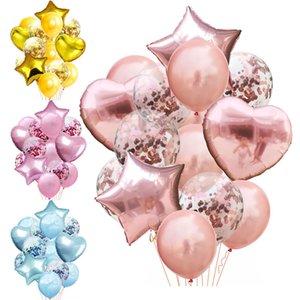 14 шт. / Лот Смешанный Розовый Золотой Воздушный шар Конфетти Набор День рождения Баллон Воздушный шар Свадьба Рождения Баллон Декор Baloon DIY