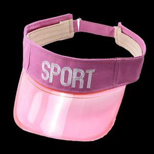 Unisex Summer Plastic Visor Sombreros Para Niños Sun Cap Transparent Bordery Letters Sport Lindo Pink Blanco Púrpura Viseras Azules
