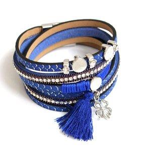Tennis F&U B137 2021 Fashion Unique Design 5 Colors Selection Charm Multilayer Magnetic Tassel Bracelet Women
