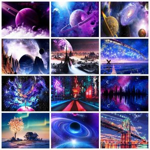 Paintings AZQSD Picture By Numbers Landscape Home Decor Diy Paint For Adults Starry Sky Planet Universe Wall Art HandPainted