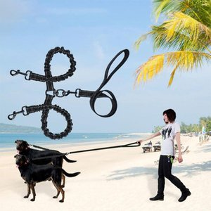 Dog Collars & Leashes Double-headed Pet Leash Luminous Nylon Guiding Strap With Buckle For Accessories