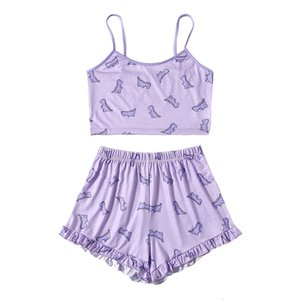 Summer Women Pajama Set Cute Printed Pattern Pajamas Suspenders Sexy Night Homewear Sleeveless Tops And Shorts 2-Piece Set
