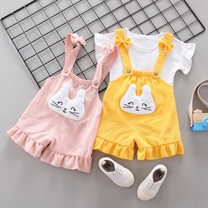 2021 New Korean Children's Suit Girls' Summer Dress Foreign Style Striped T-sleeve Carrying Shorts 2-piece Children's Suit