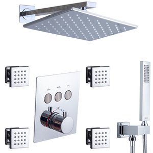 Thermostatic Bathroom Chrome Polished Set Push Button Valve 12X8 Inch Rectangular LED Rain Shower Head Body Message Jets Wall Mounted Mixer Combo System