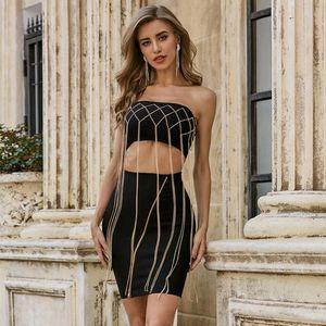 Vero Patly 2021 Moda de verano Sexy sin tirantes sin tirantes Out Tassel Black Mujeres Vendaje Vestido Elegante Vestido Vestido Vestido Vestido Casual Vestido