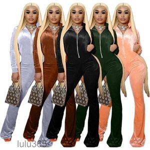 2021 autumn Women's Jumpsuits & Rompers Flared Pants Women Autumn zipper Stand collar Fashion gold Velvet Jumpsuit Suit lulu365