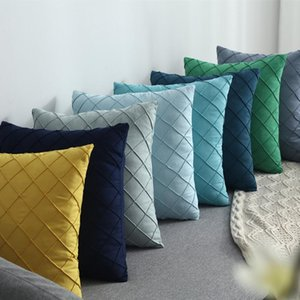Cushion Decorative Pillow Yellow Blue Navy Green Embroidered Lattic Cushion Cover Pleat Home Decorative Lumber Case 45X45CM 30x50cm