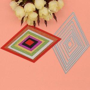 Painting Supplies 8 Pcs Set Rhombus Metal Cutting Dies Diamond Die Cut Scrapbook Paper Background Decoration Craft Stencils