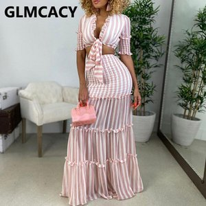 Women Stripes Two Piece Dress Sets Suits Short Sleeve Tie Front Top And Long Maxi Skirt Set Work Dresses