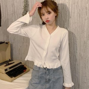 Women's T-Shirt Spring Long Sleeve Button Chiffon Shirt Female Fashion V-Neck Solid Color Knitted Shirts Ladies Loose Casual Tops