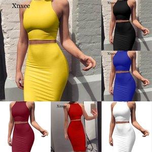 2020 Universidad de la rodilla Color de Color Sólido Top y Falda Dos Piezas Vestido Set Yellow Club Summer Traje Sexy Ropa para Mujeres L0303