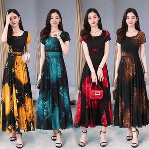 Casual Dresses Ice Silk Large Size Dress Women's 2021 Temperament Mother's Body Decoration Waist Print Stitching Light Mature Style Big Swing Skirt
