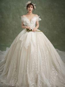 Главная MORI Fairy Dream Super Dress 2021 Новая звезда Большой Хвост Темперамент Одно плечо Свадьба