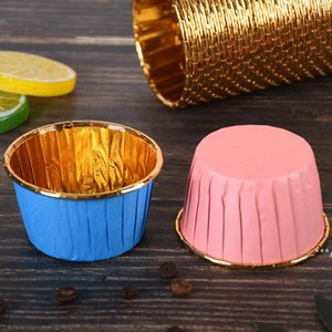 50pcs Cupcake Wrappers Crimping Muffin Cases Cake Liner Gold Silver Coated Paper Cups Heat Resistant Baking Mold Cakes Supplies FWA4557