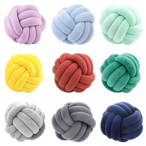 15 colors Pillows INS Nordic style living room decoration sofa PP cotton padded cushion Solid color woven knotted Plush ball pillow 20*20cm 27*27cm Z4298