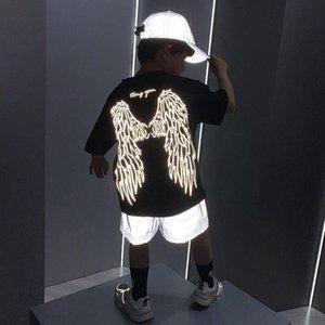 Детский костюм летние девочки мальчики 3d одежда лазерные крылья тс спортивный хлопок отражающий костюм футболка шорты 8-12 лет подростки дети повседневные