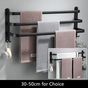 Towel Racks Hanger Wall Mounted 30-50 CM Rack Bathroom Aluminum Black Bar Rail Matte Holder Space