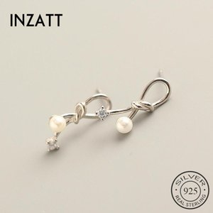 INZAReal 925 Sterling Silver Zircon Pearl Bowknot Stud Earrings For Fashion Women Cute Fine Jewelry Accessories Gift