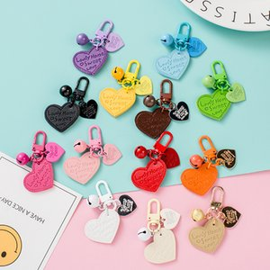 Creative Party Favor Leather Keychain Pendants PU Love Candy Color Bell Bag Accessories 13 Colors Can be Choose XD24599