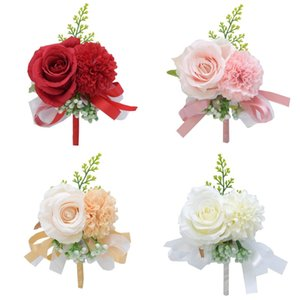Bridesmaid Flowers CorsAge Peony Rose Uomini Boutonniere per Accessori per fiori di nozze Prom Tuta Decorazioni Bianco Champagne