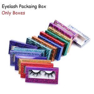 Glitter Laser Eyelash Paper Packing Box Eyelashes Packaging Case with Window for 25mm -28mm in Bulk GGA4441