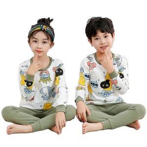 Winter homewear for baby girls boys pure cotton cute animal sale pyjamas 2-13T kids sleeping wear children bottoming shirt 210915