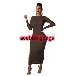 Designer Women Maxi Dresses Plus Size 3XL Letter Print Dress Long Sleeve Skirts Fashion Spring Summer Autumn Clothing Bodycon Onesie Skirt 5609