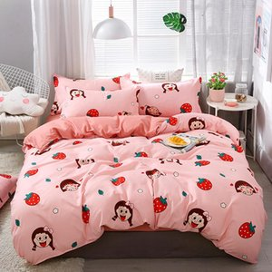 Bedding Sets Pink Cartoon Strawbe Girl Set Sheet With Pillowcase 3 4Pcs Kids Adults Cute Bedclothes For Twin Full Queen Size