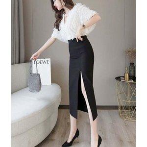 Skirts 2021 Women Spring Summer Casual Loose Skirt Lady Split Elastic High Waist Solid Large Size Faldas Vintage A-line F461