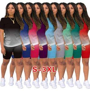 Женщины Scestsuits дизайнерская одежда градиент 2 двух частей нарядов бег трусцовый костюм дамы повседневные шорты брюки плюс размер женской одежды 836-1