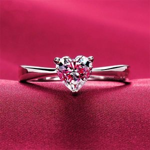 Cluster Rings Romantic Love Ring For Lover 1Ct Heart Shape 925 Sterling Silver Women Jewelry Gift