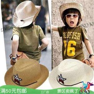 Cowboy детская соломенная шляпа, мальчики, затенение солнца, пляжные девушки летняя западная ковбойская шляпа