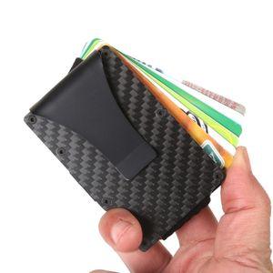 رجل محفظة ألياف الكربون الألياف المعدنية حامل بطاقة الائتمان 1-12 بطاقات الألومنيوم مع عودة جيب بطاقة معرف rfid حظر محفظة الأسود