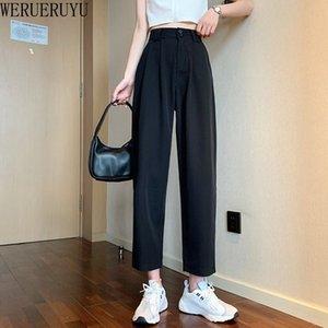 Werueruyu Harem брюки лодыжки летом свободно свободный досуг черный маленькие ноги тонкий раздел прямые брюки 210319