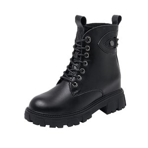 Spring and autumn leather Martin boots inner heightening Thick bottom lace-up round head waterproof Motorcycle women's shoes Black shoes for female college students