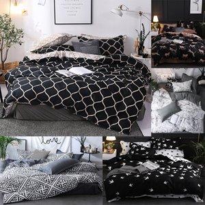 Luxury Bedding Set Super King Duvet Cover Sets 3pcs Marble Single Swallow Queen Size Black Comforter Bed Linens Stripe 460 V2