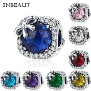 fit Europe Bracelet Silver 925 Original CZ Bow Birthstone S925 Blue&Pink&Red Zircon Bowknot Beads for Jewelry Making Gfit