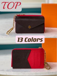 Recto Verso Key Wallet Women Fashion Top with Cover Coin Pocket 13 Colors Card Holder