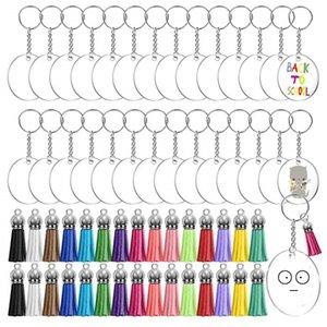 DIY ручной работы брелок ремесел сувенир Party Hool 30 шт. Прозрачные круглые акриловые блюдные диски пустой многоцветный кисточкой подвесной ключ набор WY1242