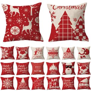 Children Christmas Case Pillow Flax Santa Claus Elk Snowflake English Alphabet Home