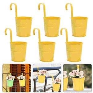 Planters & Pots 6PCS Iron Hanging Flower Pot Railing Fence Balcony Garden Decor Holder